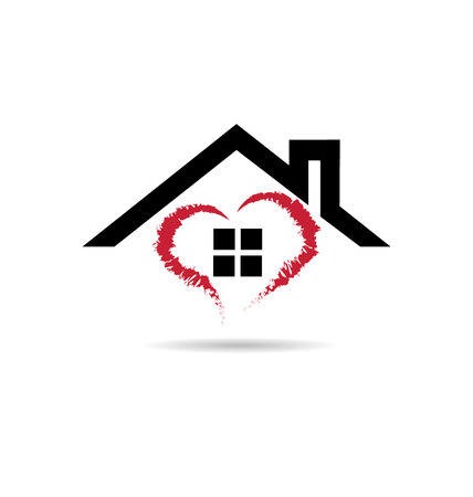 modern house: House and heart  vector icon design grunge  template