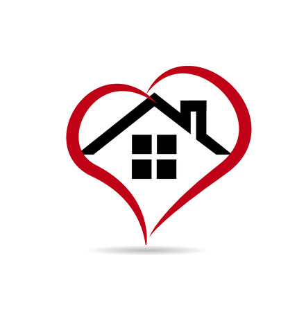 real estate sign: House and heart  vector icon design template