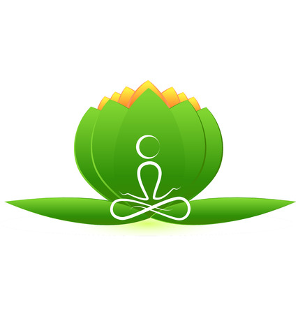 Lotus flower with yoga man symbol vector icon Vector