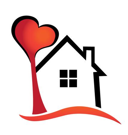 silhouette maison: Maison et arbre de coeur vecteur, icône modèle de conception