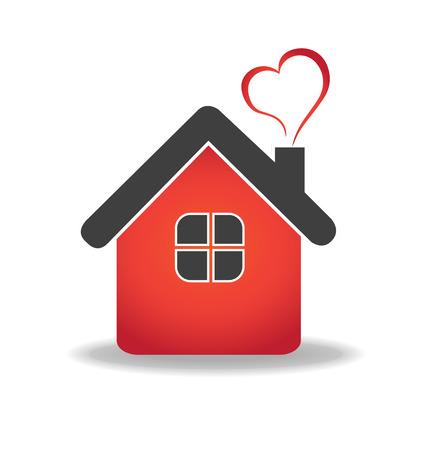 Casa y vector del corazón plantilla de diseño de iconos