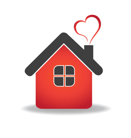 House and heart  vector icon design template