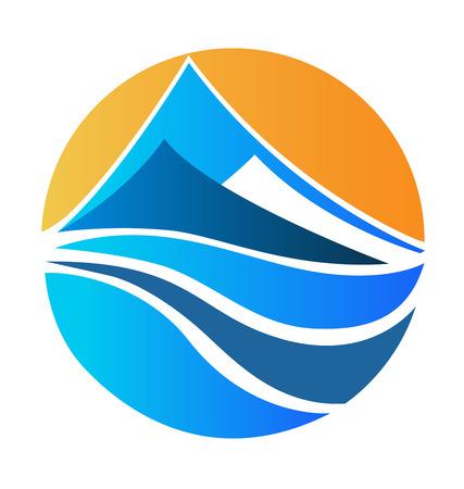 illustrazione sole: Montagne paesaggio e sole disegno vettore icona