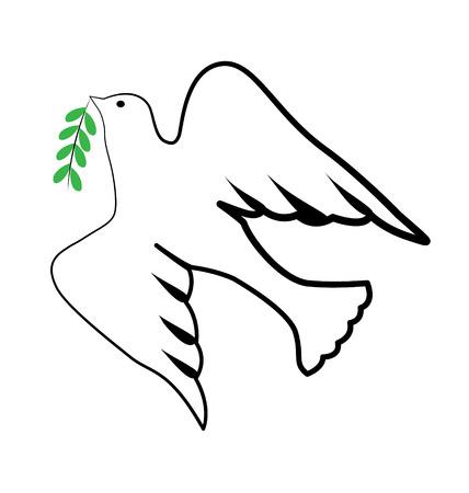 Pássaro e paz e espírito santo símbolo ícone vector design Ilustración de vector