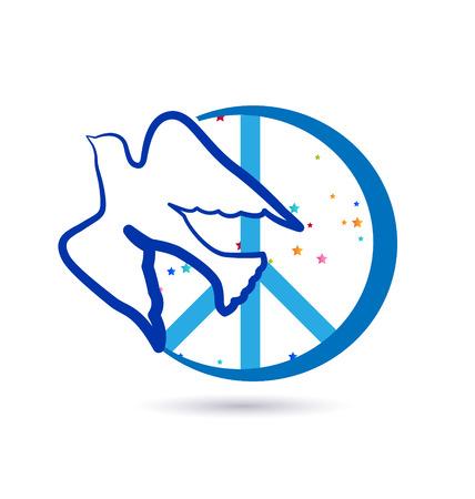 Bird and peace symbols icon vector design