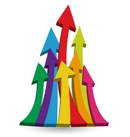 Arrows growing up icon vector Vettoriali