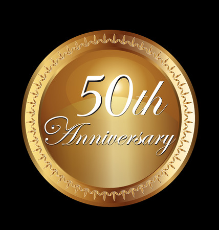 1 year anniversary: 50 years anniversary greeting card. Gold Vector design