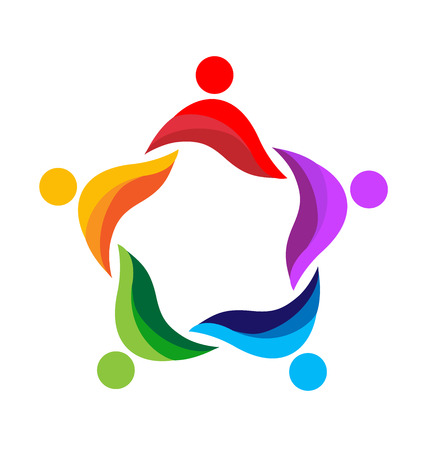 children circle: Teamwork diversity people icon design template vector logo Illustration