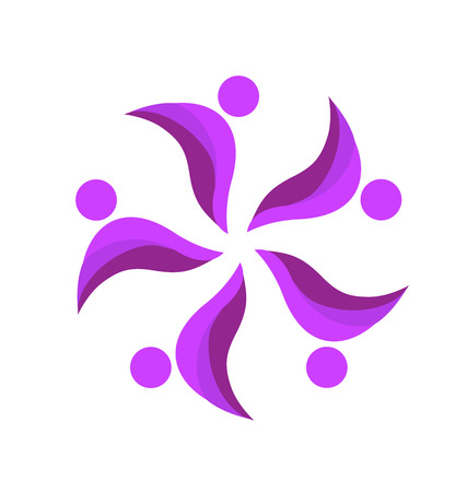 Teamwork purple people icon design template Vector