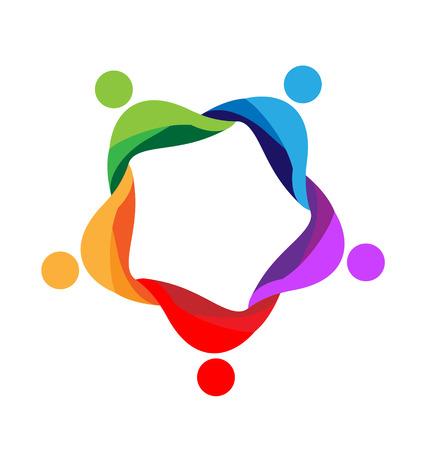Teamwork around people icon design template vector logo Çizim