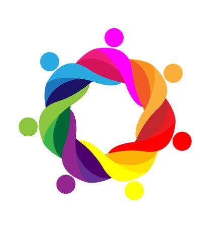la union hace la fuerza: Trabajo en equipo abrazado personas icono plantilla vector logo Vectores