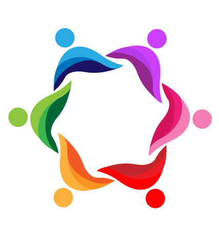 communicatie: Teamwork abstracte mensen pictogram ontwerp sjabloon vector logo Stock Illustratie