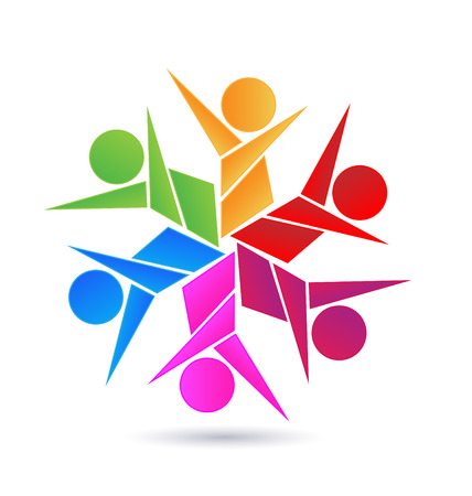 Teamwork abstract people icon design template vector logo