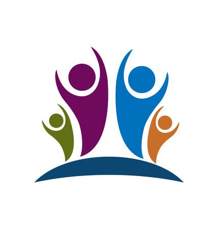la union hace la fuerza: Personas familiares optimismo imagen del icono del vector en Vectores