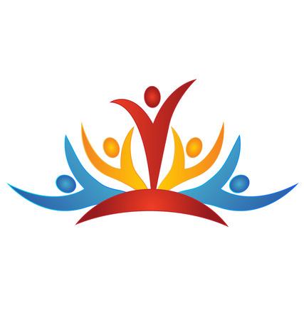 onderwijs: Teamwork bedrijfsleven abstracte mensen pictogram ontwerp sjabloon logo vector