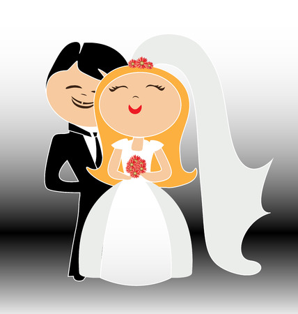 wedding cake: Couple wedding vector. Just married Illustration