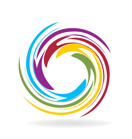 rainbow circle: Spiral waves identity card icon background vector design Illustration
