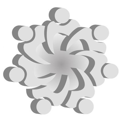 Teamwork unity people logo design template icon vector Vector