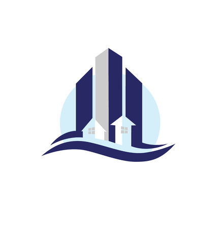 logotipo de construccion: Edificios modernos de los bienes raíces icono de la tarjeta vector de diseño creativo colorido logotipo de la plantilla Vectores