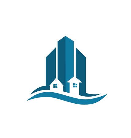 modern buildings: Immobilier carte bleue b�timents modernes ic�ne vecteur de design cr�atif color�