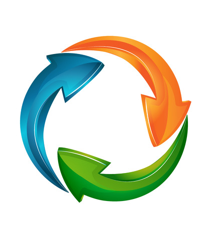 environnement entreprise: Vecteur de fl�ches symbolisant une entreprise mod�le pour la carte d'identit� ic�ne