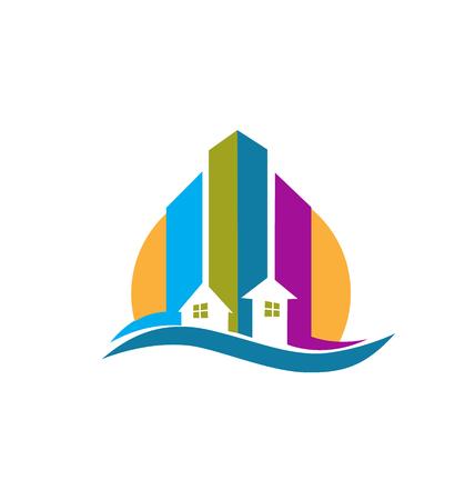 Real estate modern buildings card icon vector creative design colorful  Vector