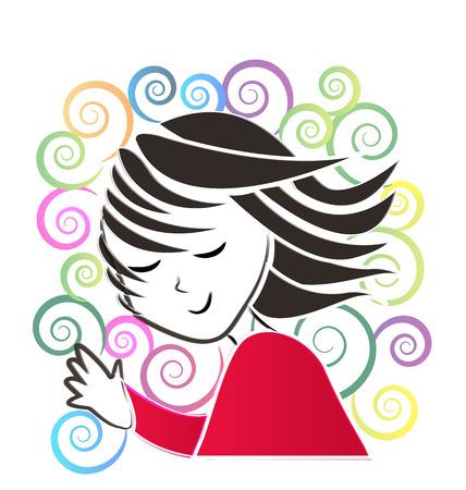 dork: Girl waving hand silhouette vector floral style design background Illustration