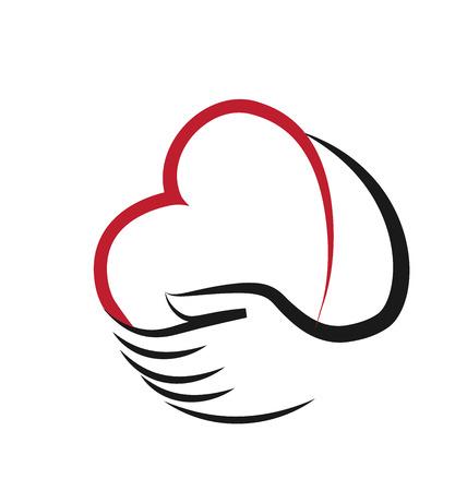 Diseño del corazón y el icono de vector de la mano