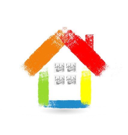 handyman: Real estate brused house vector icon Illustration