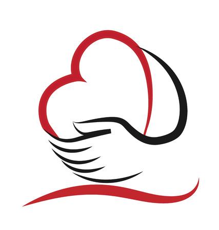 Corazón y mano concepto de ayudar y de la caridad o personas enfermas icono vector