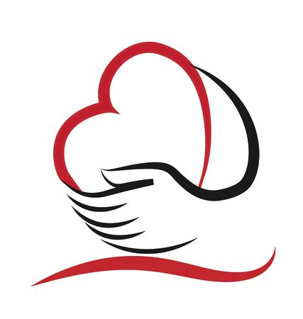 Niños ayudando: Corazón y mano concepto de ayudar y de la caridad o personas enfermas icono vector