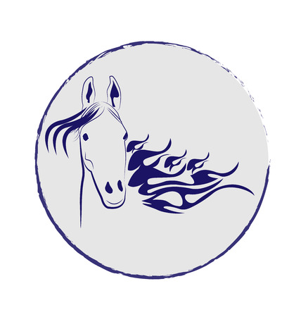 Horse in a circle frame vector icon