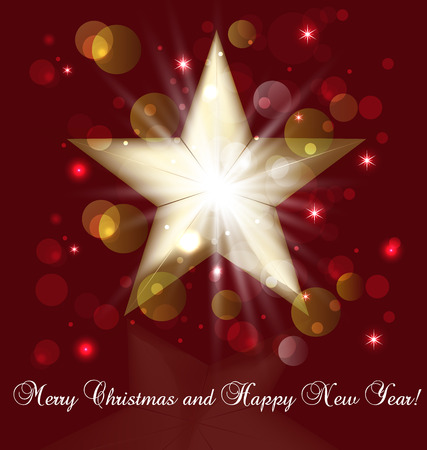Glitter golden christmas star with bokeh bubbles greetings card vector Vector