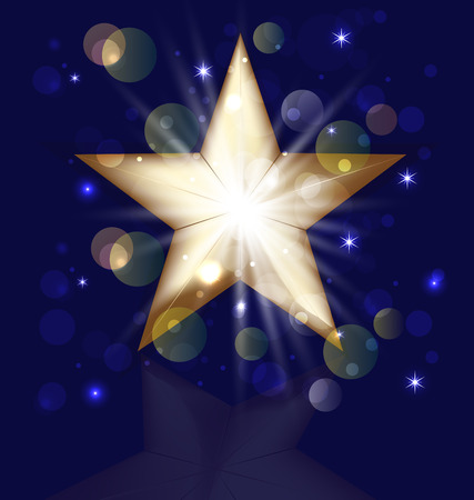 Glitter golden christmas star with bokeh bubbles vector icon Vector