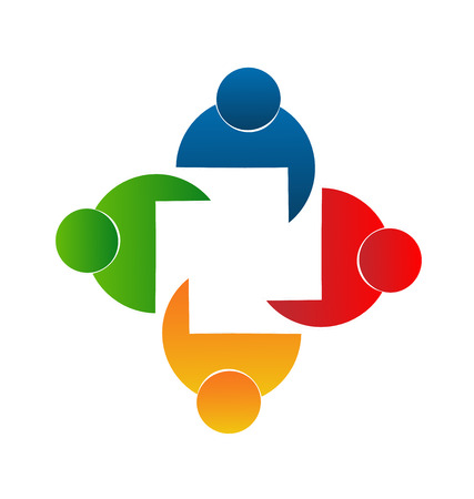 ordinateur logo: Travail d'�quipe de rencontrer des gens de conception de logo mod�le ic�ne vecteur Illustration