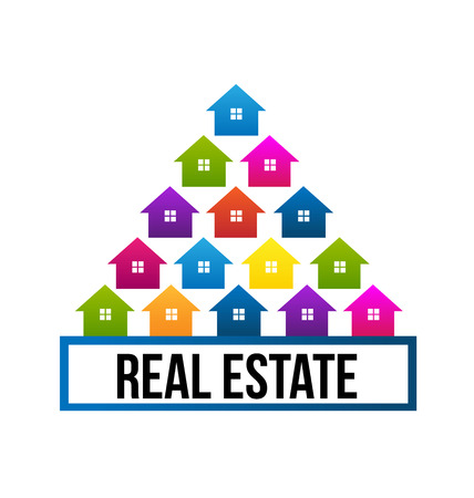 case colorate: Immobiliari case colorate a forma di albero vettore icona di design