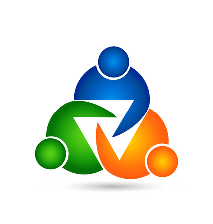 ordinateur logo: Travail d'�quipe essai de l'unit� des gens ic�ne mod�le de conception ic�ne vecteur.