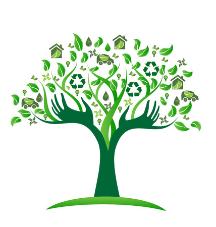Ecological green tree with icons vector icon design