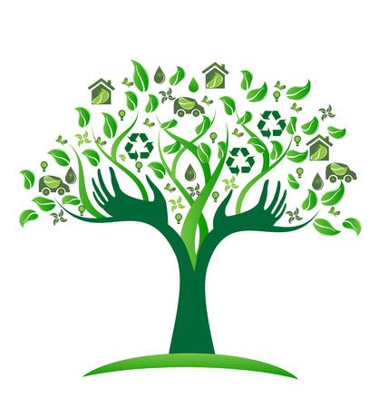 アイコン ベクトル アイコン デザインと生態学的な緑の木