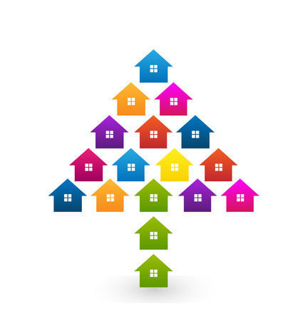 Houses colorful in tree shape icon vector icon design Vector