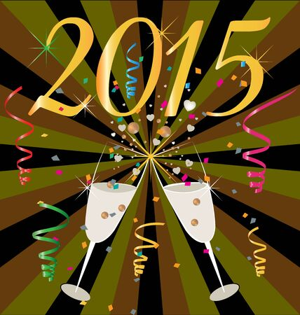 Wallpaper 2015 celebration with cheers champagne cups vector Vector