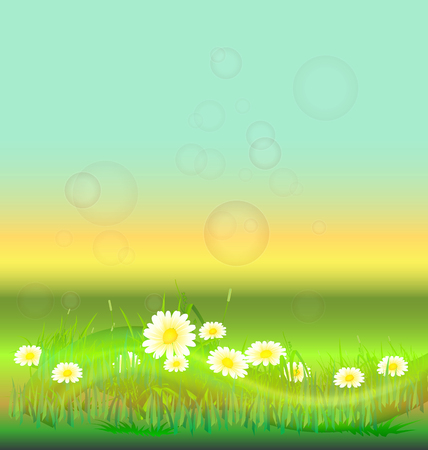 White flowers in a prairie background vector design Vector