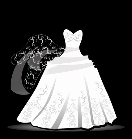 Wedding dress design vector image background Vector