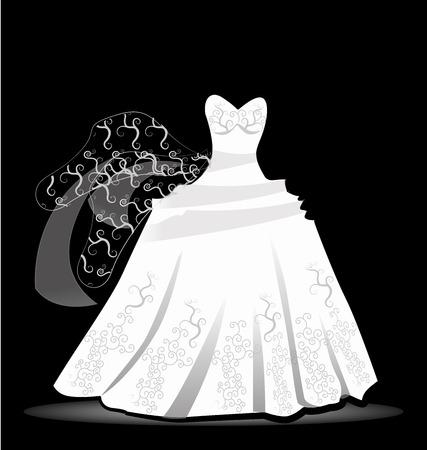 free vector art: Wedding dress design vector image background