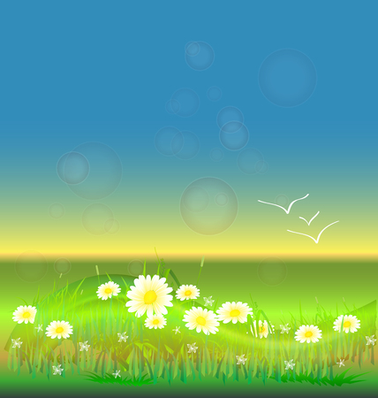 clean energy: Flowers and birds in a prairie background vector design