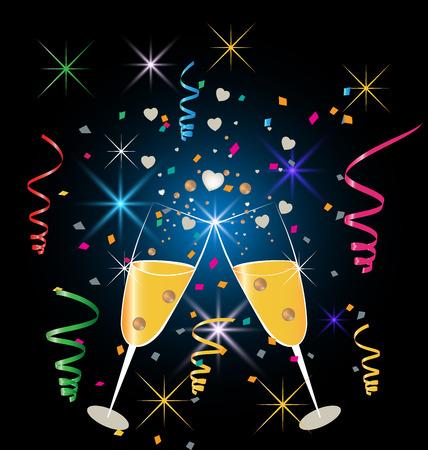 2 つのグラス シャンパンの紙吹雪パーティーのお祝いの背景します。  イラスト・ベクター素材