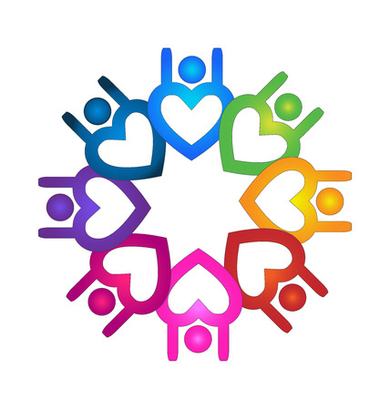 Teamwork charity people heart shape icon vector