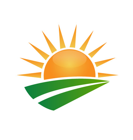 farms: Sun and green road swoosh vector icon