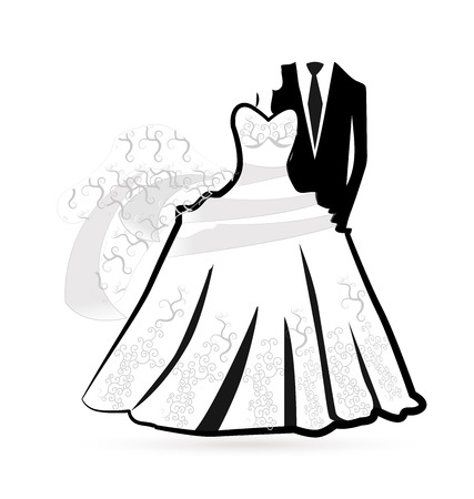 Wedding dress -bride and groom silhouettes vector icon Иллюстрация