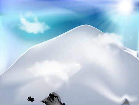 Mountain with clouds in sunny day vector design